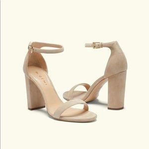 New M. Gemi Pilone 90mm Block Heel Sandal Suede
